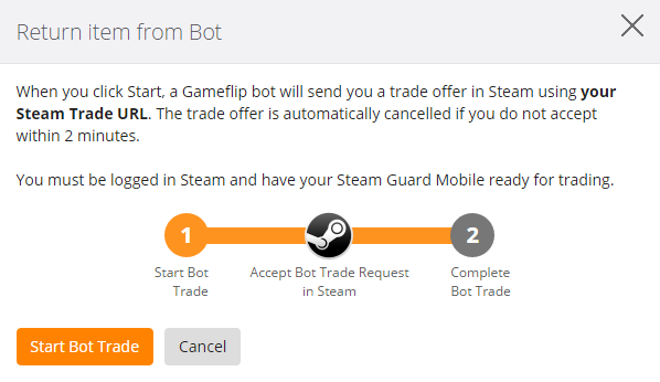 How to retrieve my Skin back from a Bot? – Gameflip Help
